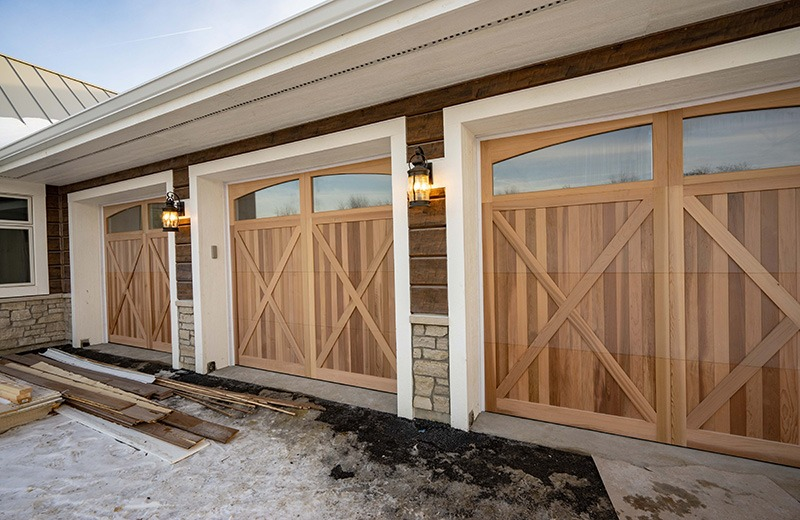 Five Car Garage with Wooden doors and Heated Floors