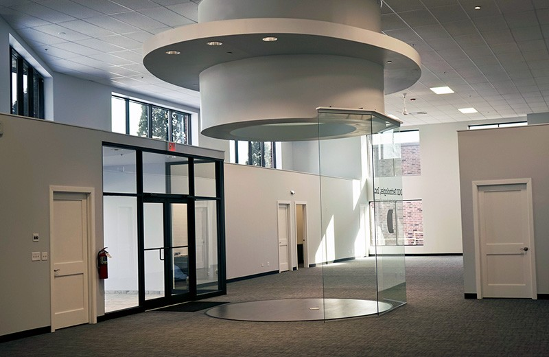 Office Lobby with decorative structure