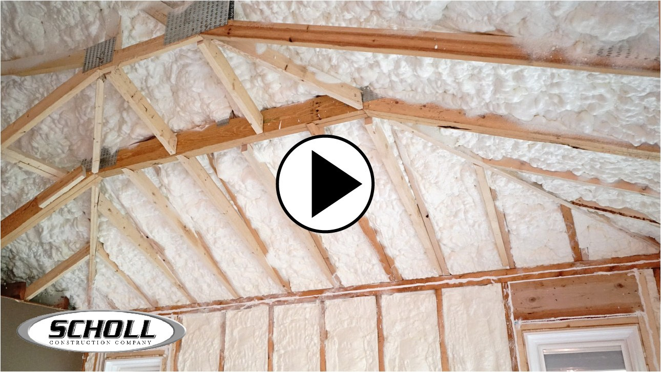view of roof rafters with open cell insulation