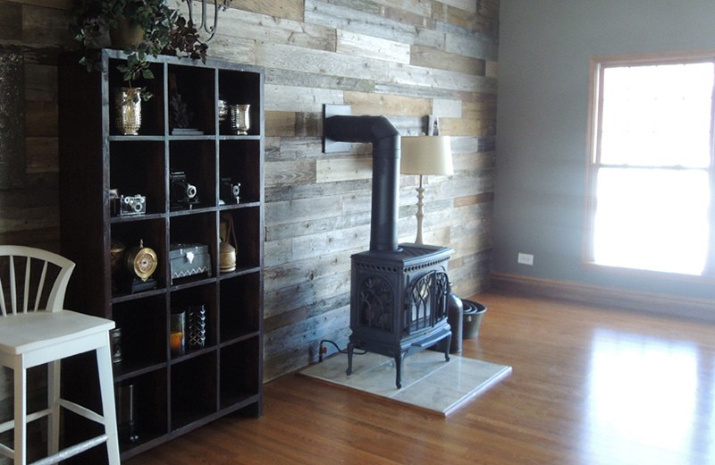 Whole house remodel - reclaimed wood on walls for family room