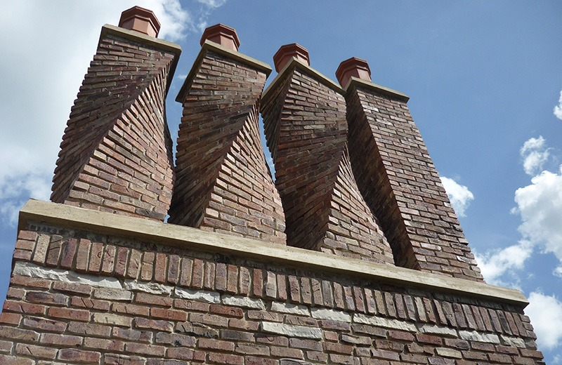 Custom built luxury home - detail of custom chimney, Bull Valley, IL