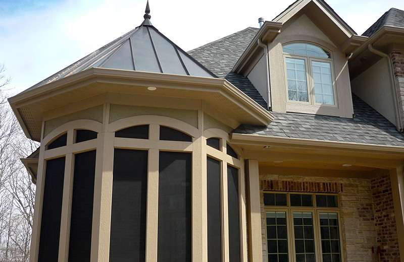 Custom built luxury home - sleeping porch with suspended roll-up porch bed