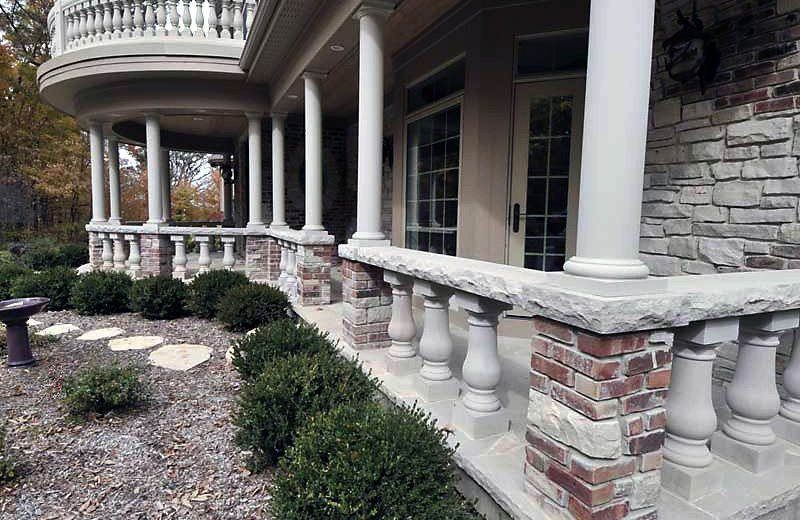 Custom built luxury home - detail of the front porch stonework
