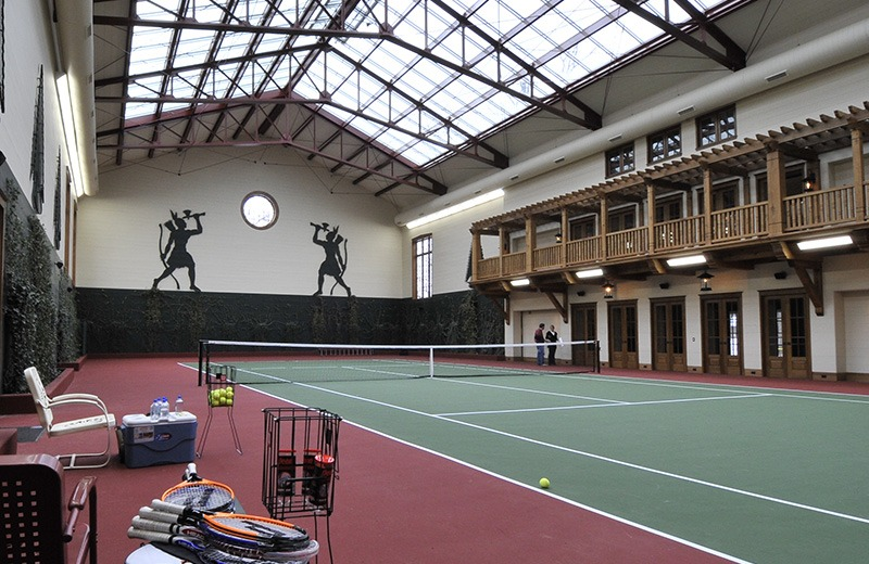 View of tennis courts in retreat building