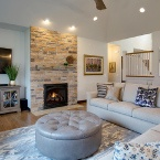 Living room with fireplace in custom-built home, Medinah, IL