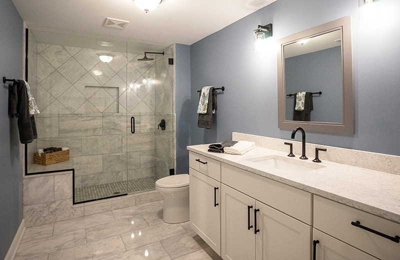 Whole house remodel - new lower level bathroom with marble accents