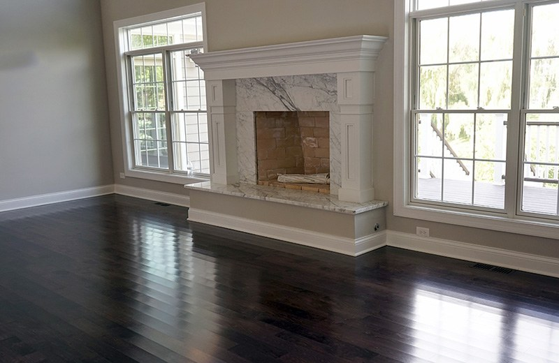 Custom built luxury home - living room fireplace, Lakewood, IL