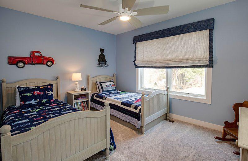 Second floor bedroom decorate in blue for grandsons