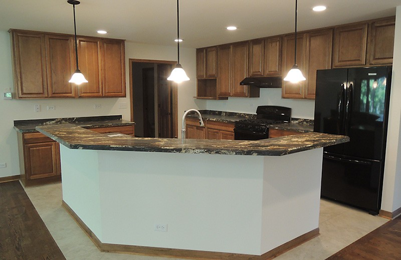 Custom built home, kitchen island